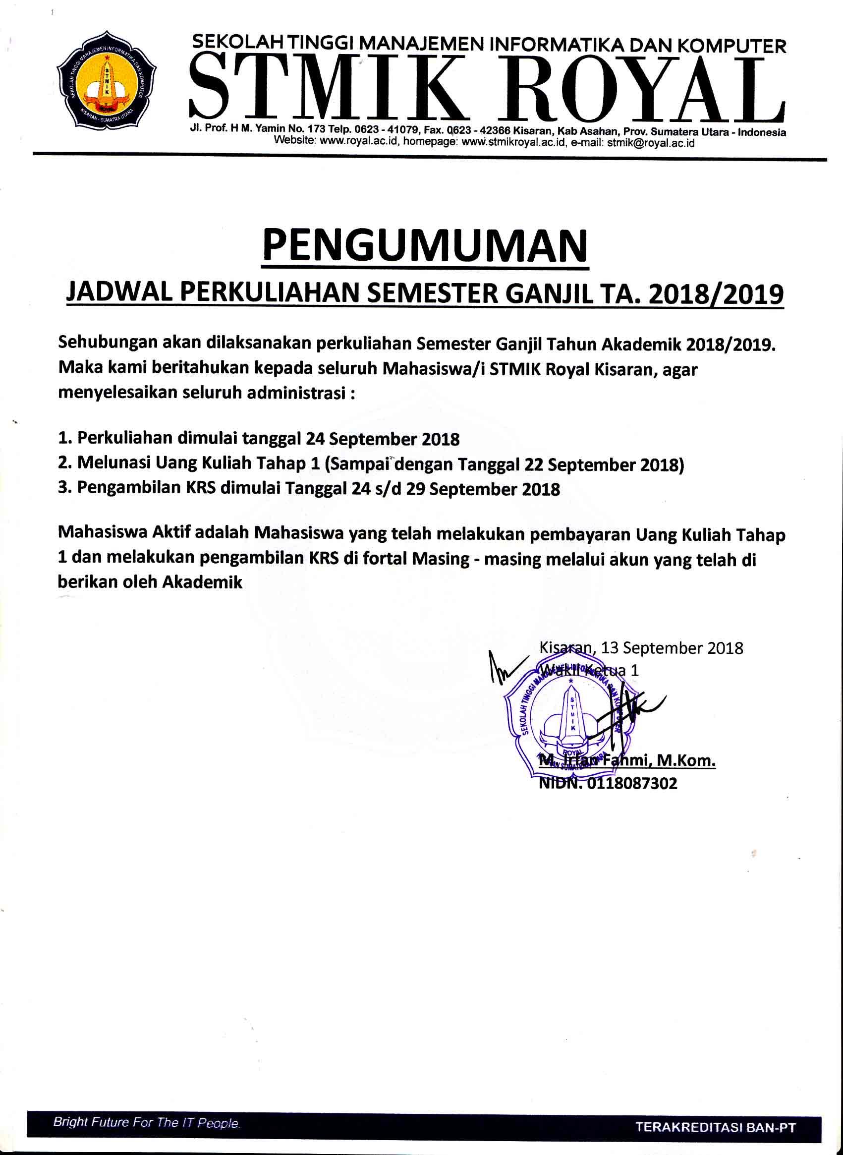 pengumuman masuk kuliah tahun 2018