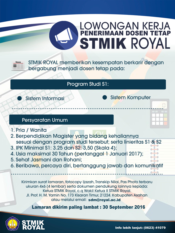 Info Lowongan Kerja Dosen Tetap Stmik Royal Sumatera Utara
