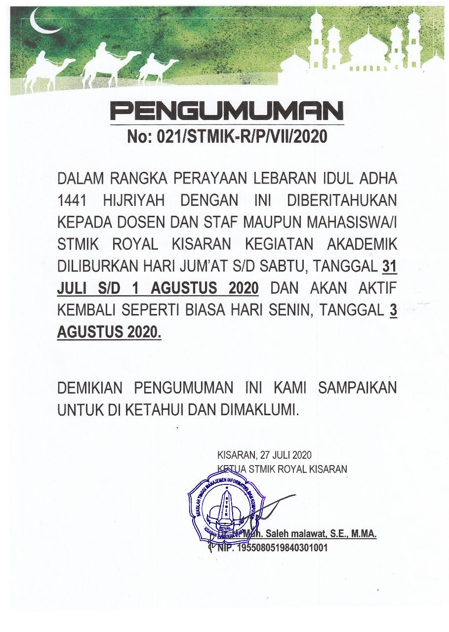 Pengumuman Libur Hari Raya Idul Adha 1441 Hijriyah Stmik Royal Kisaran Stmik Royal Sumatera Utara Indonesia